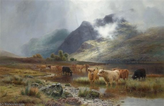 Lago Lubnaig Asícomo Ben Veleta de Louis Bosworth Hurt (1856-1929, United Kingdom)