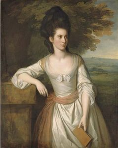 Nathaniel Dance-Holland - retrato de mrs . Vere , Three-quarter-length , con un vestido blanco con un el marco rosado