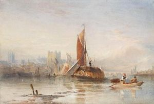 Thomas Sewell Robins - Haybarges On The Medway