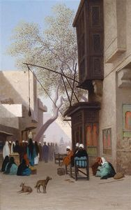 Charles Théodore Frère (Bey) - Oriental calle escena