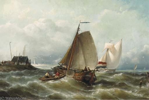 Envíos En Choppy Waters Por Una Costa de Nicolaas Riegen (1827-1889, Netherlands)