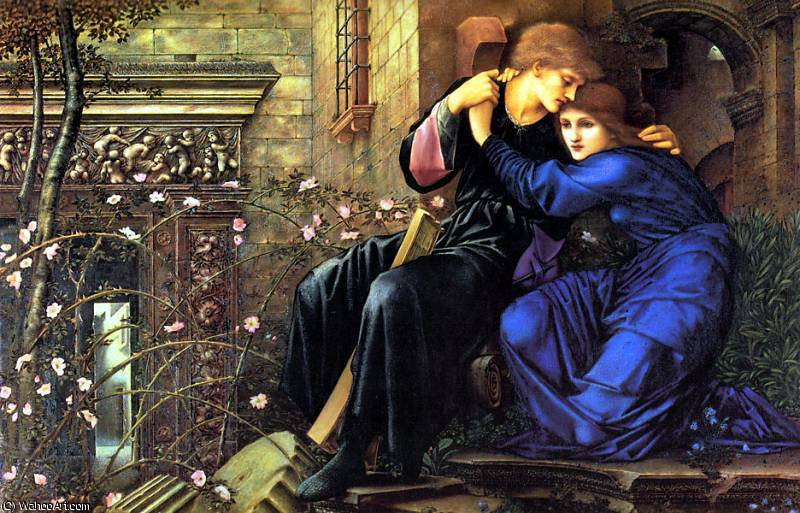 amor entre los ruinas de Edward Coley Burne-Jones (1833-1898, United Kingdom) | Reproducciones De Arte Edward Coley Burne-Jones | WahooArt.com