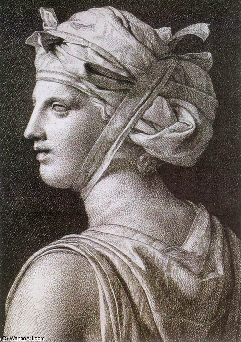 mujer en una turbante  de Jacques Louis David (1748-1800, France)