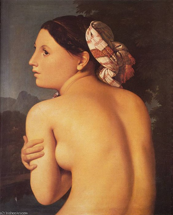 Media figura de un bañista de Jean Auguste Dominique Ingres (1780-1867, France)