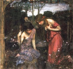 John William Waterhouse - Ninfas que encuentran la cabeza de Orfeo estudio