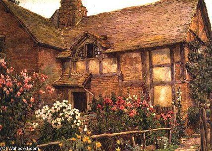 A Garden Cottage En Cholstry de Ernest Arthur Rowe (1863-1922, United Kingdom)