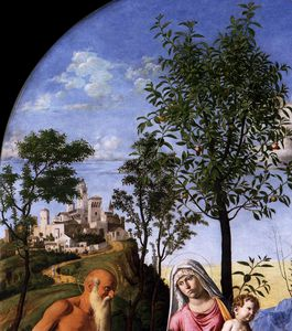 Giovanni Battista Cima Da Conegliano - virgen de orange árbol Detalle