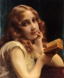 Etienne Adolphe Piot - a pequeño chica Lectura