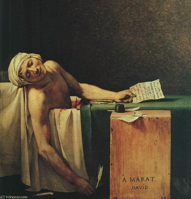 la muerte de Marat de Jacques Louis David (1748-1800, France)