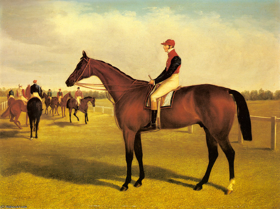 don juan el ganador del st leger con william scott hasta, 1838 de John Frederick Herring Senior (1795-1865, United Kingdom) | Reproducciones De Bellas Artes John Frederick Herring Senior | WahooArt.com