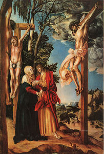 Lucas Cranach The Elder - el crucifixión, pino panel, `pinakothek` a
