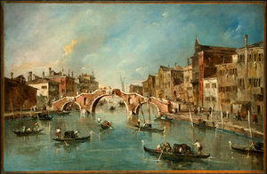 Francesco Lazzaro Guardi - Ver en el canal de cannaregio , Venecia , do .