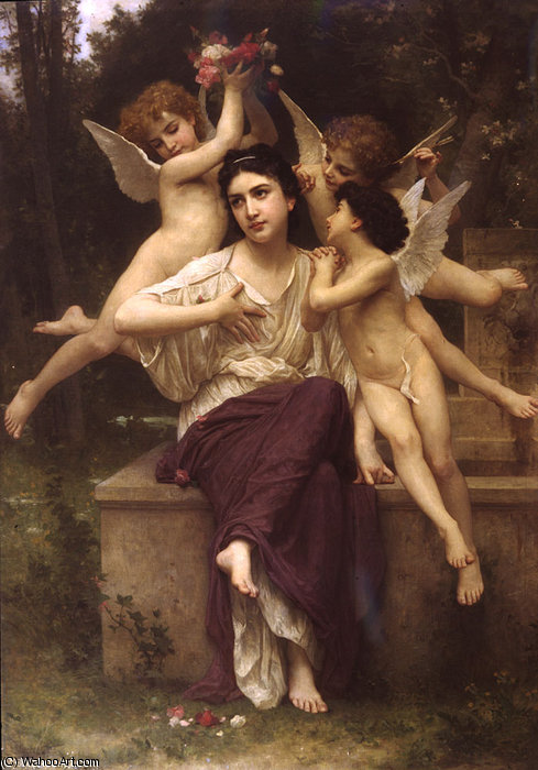 Un sueños  todaclasede  primavera  de William Adolphe Bouguereau (1825-1905, France)