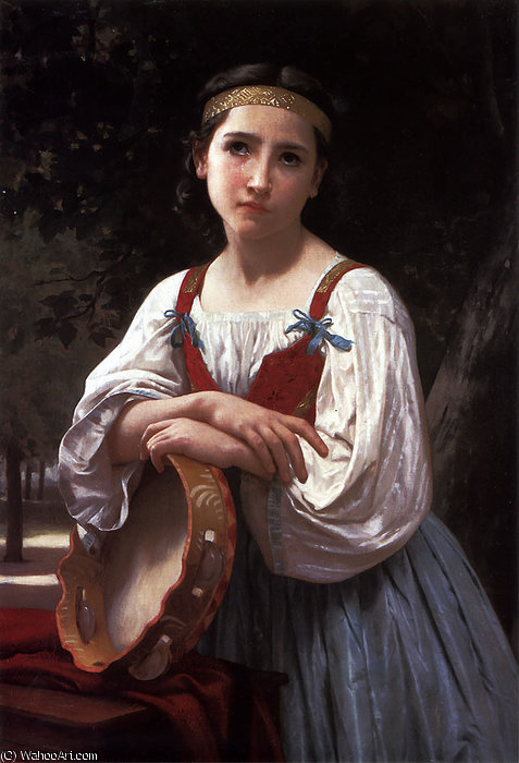 Bohemienne au Tambour de Vasco de William Adolphe Bouguereau (1825-1905, France)