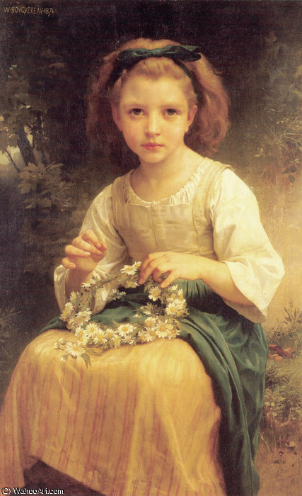 Trenzado niño un corona de William Adolphe Bouguereau (1825-1905, France)