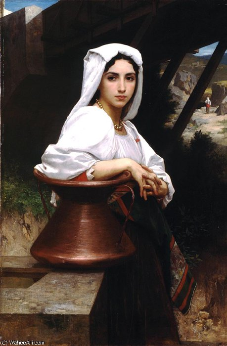 italiano chica dibujo agua de William Adolphe Bouguereau (1825-1905, France)
