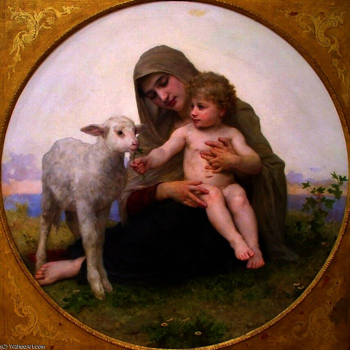 Virgen y el Cordero de William Adolphe Bouguereau (1825-1905, France)
