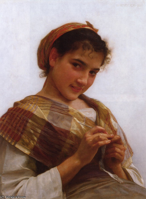 niña joven ganchillo  de William Adolphe Bouguereau (1825-1905, France)
