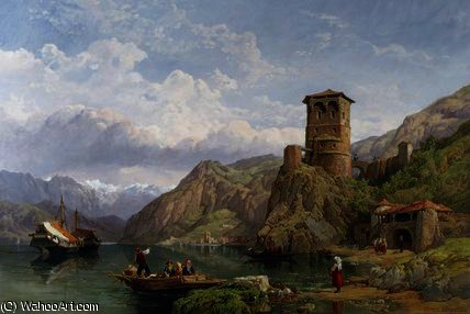 paisaje en norte  Italia  de George Clarkson Stanfield (1793-1867, United Kingdom)