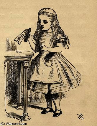 Alice mirando la botella Drink Me de John Tenniel (1820-1914, United Kingdom)