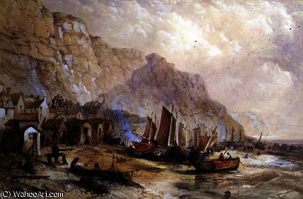 Antiguo Hastings, Sussex de Thomas Charles Leeson Rowbotham (1782-1853, United Kingdom) | WahooArt.com