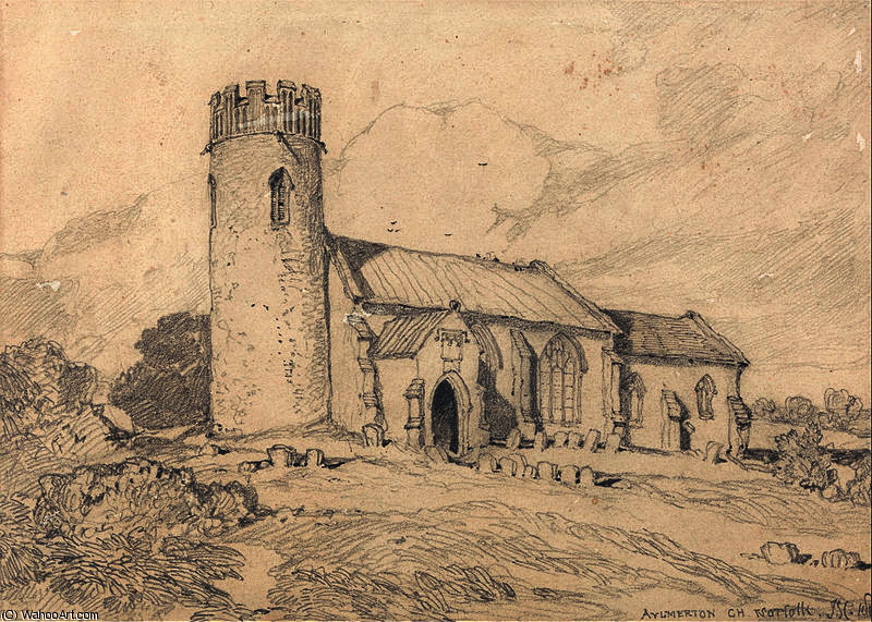 Aylmerton Iglesia ; Norfolk , desde el South-West de John Sell Cotman (1782-1842, United Kingdom) | Impresiones De Arte En Lienzo | WahooArt.com