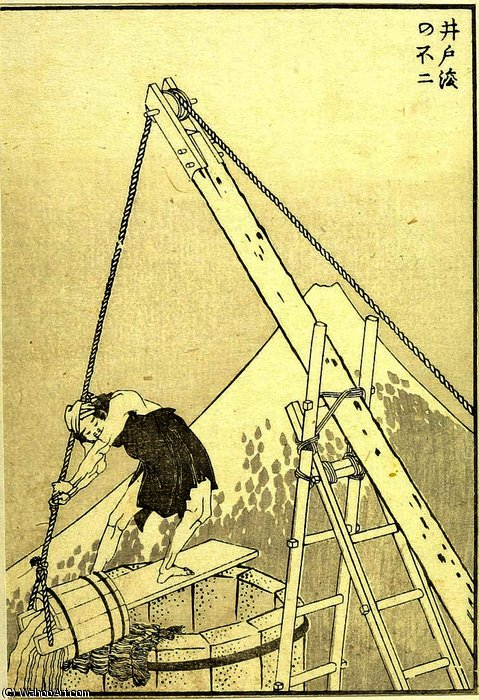 Well-Cleaning Fuji de Katsushika Hokusai (1760-1849, Japan)