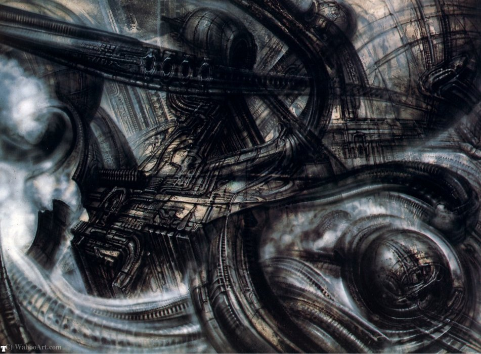 Giger Hr biomechanicallandscape - (008) de H.R. Giger (1940-2014, Switzerland) | Copia De La Pintura | WahooArt.com