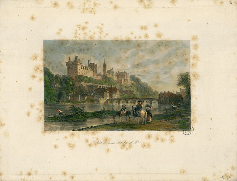 Château y el puente de Pau de Thomas Allom (1804-1872, United Kingdom)