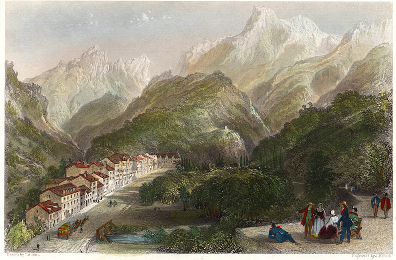 Eaux-Bonnes, Pirineos Atlánticos de Thomas Allom (1804-1872, United Kingdom)
