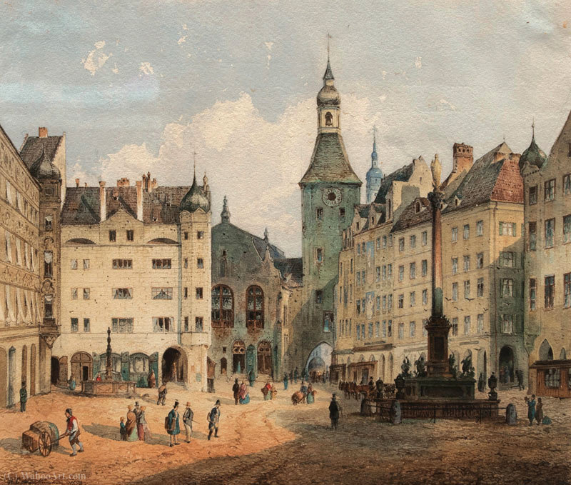 La Marienplatz en Munich de Anton Doll (1826-1887, Germany)