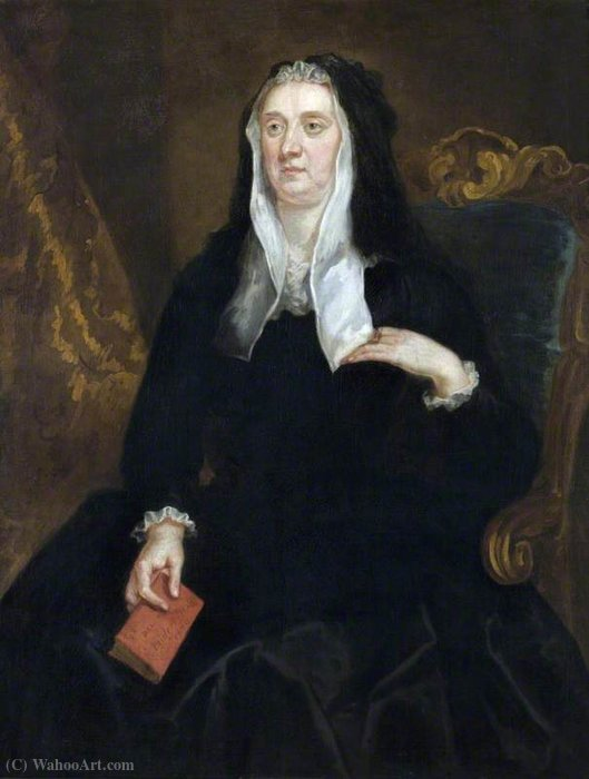 Un desconocido Viuda sostiene un libro inscrito Dame Bridget Phelips, (1670) de John Vanderbank (1694-1739, United Kingdom)