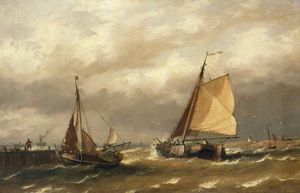Richard Henry Nibbs - Barcos holandeses que sale de Harbor en un Breeze