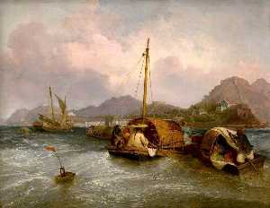 Thomas And William Daniell - Huevo Barcos fuera de Macao , China
