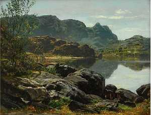 Anders Monsen Askevold - paisaje con lago