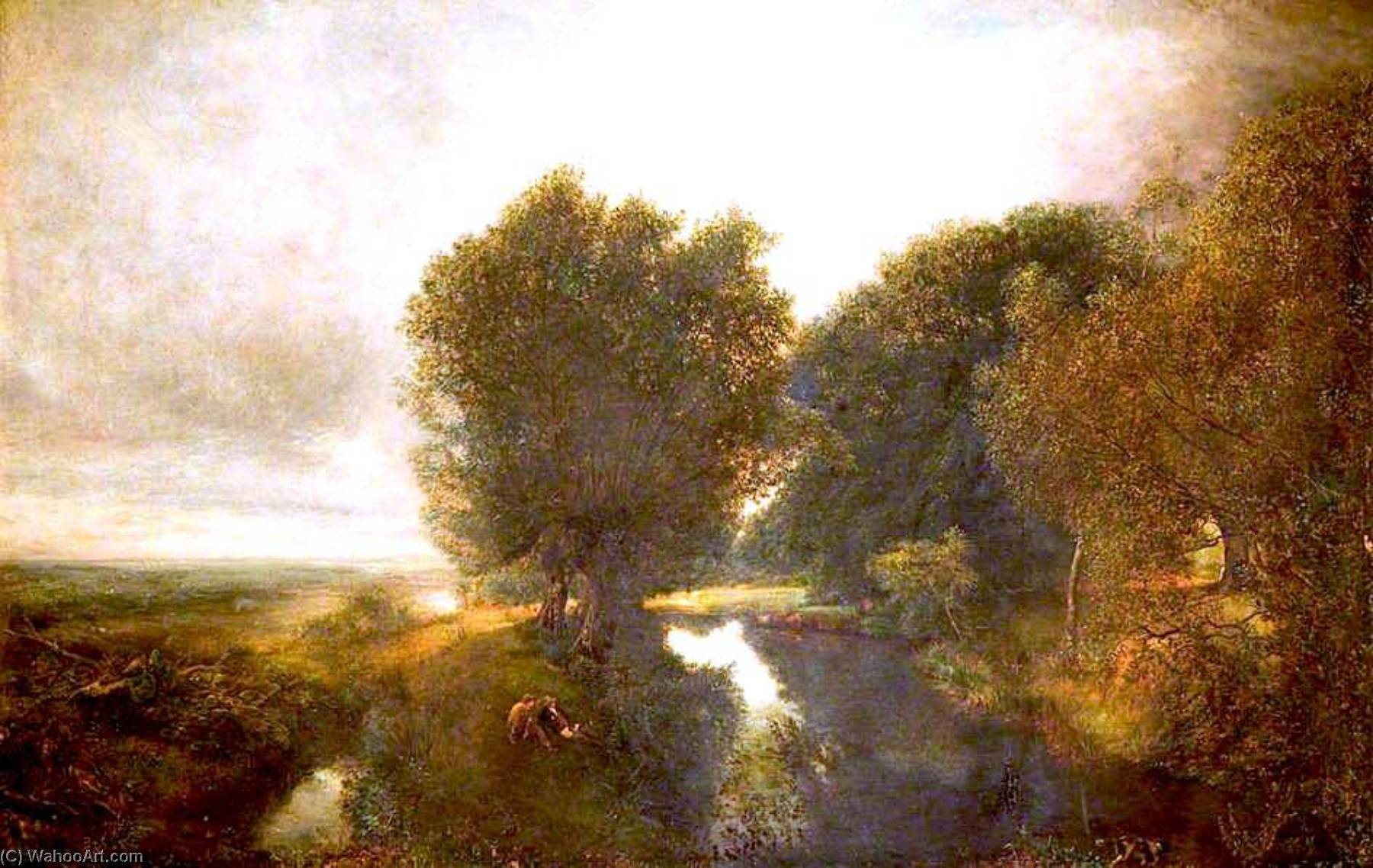 Nature's Espejo, óleo sobre lienzo de Henry Mark Anthony (1817-1886)