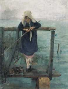 Helene Schjerfbeck - chica pesca