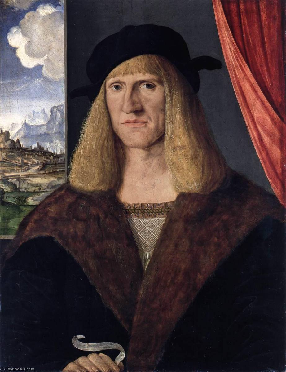 retrato de un man, oleo en panel de Jacopo Barbari (1460-1516)