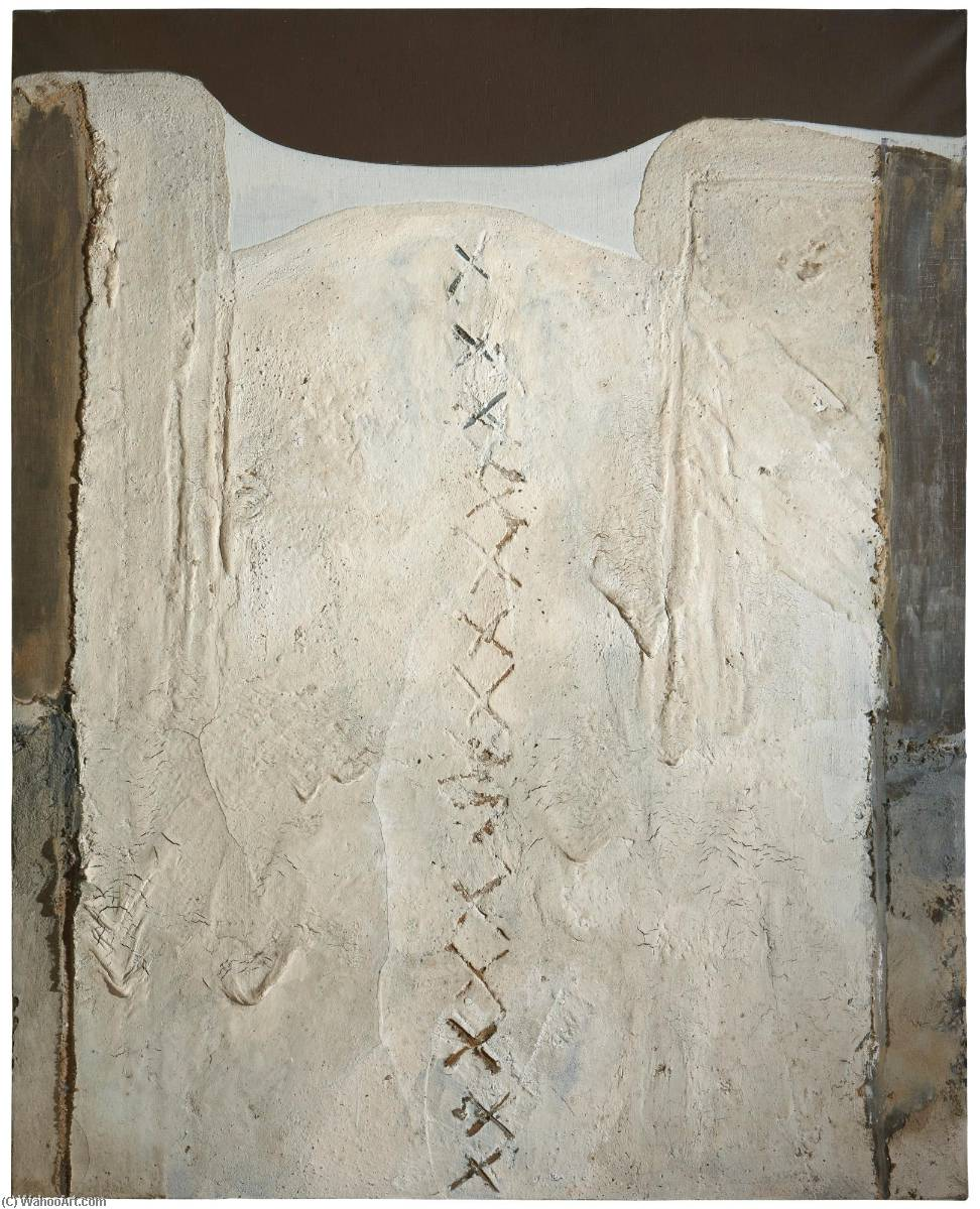 Aliviar el blanco estafa cruces, medios mixtos de Antoni Tàpies (1923-2012, Spain)