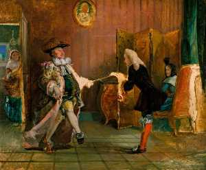 William Powell Frith - <br> monsieur Jourdain's lección de baile ( de Molière's 'Le Burgués Gentilhomme' , acto ii , Escena 1 )