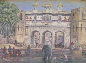 Marianne North - 'Water Puerta . Oodipore . La india . Janr . 1879'