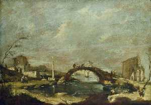 Francesco Lazzaro Guardi - Capriccio Paisaje