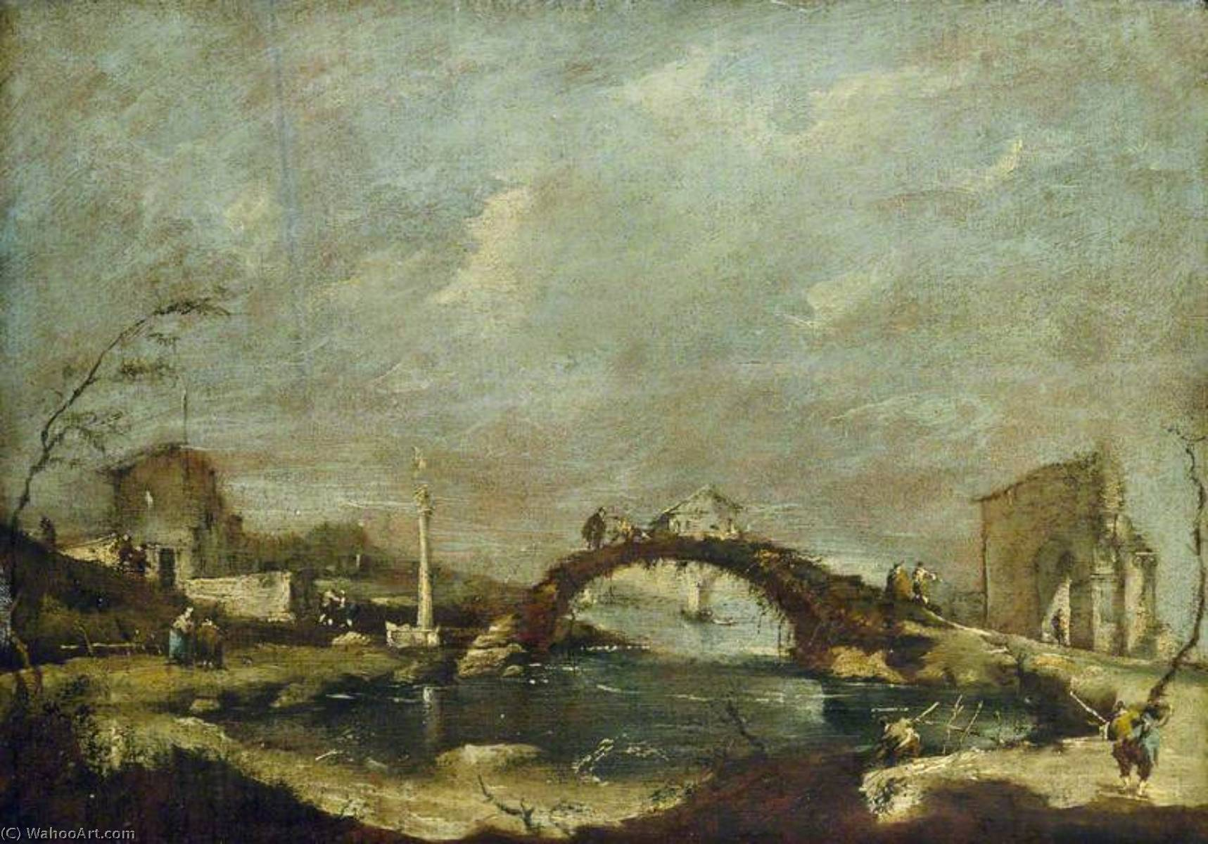 Capriccio Paisaje, oleo en panel de Francesco Lazzaro Guardi (1712-1793, Italy)