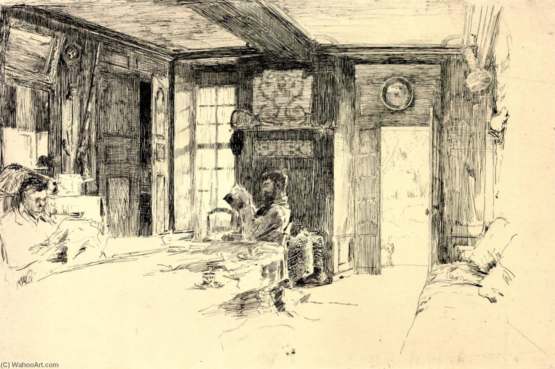 Interior de la Granja , Giverny, dibujo de William Blair Bruce (1859-1906, Canada)