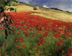 William Blair Bruce - paisaje con amapolas