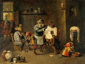 David Teniers Ii Le Jeune - Un barbero mono Surgeon's Establecimiento