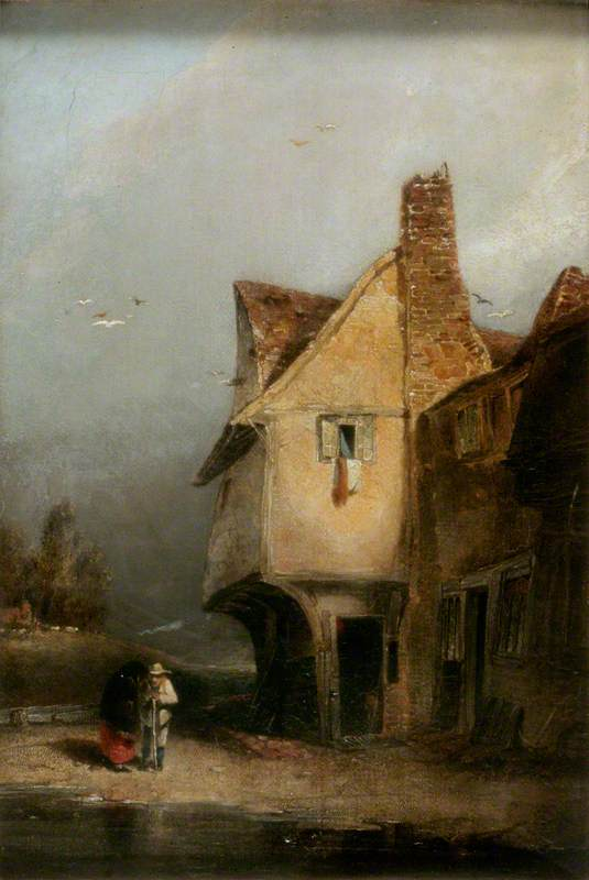 un viejo Cabaña , st. albans, óleo sobre lienzo de William Mulready The Younger (1786-1863, Ireland)