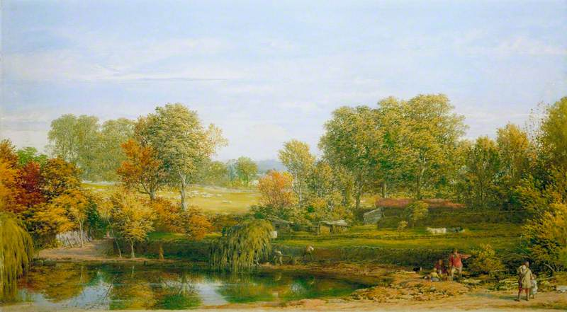Blackheath Parque, oleo en panel de William Mulready The Younger (1786-1863, Ireland)