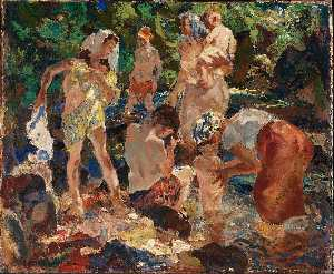 John Edward Costigan - de picnic a lo largo  el  arroyo