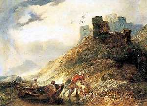Alfred Clint - desembarco en east cliff , Dover , Kent